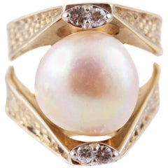 11.35 mm Cultured Pearl Diamond Ring Yellow Gold