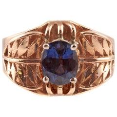 1.35 Carat Blue Sapphire Ring in 14 Karat Gold