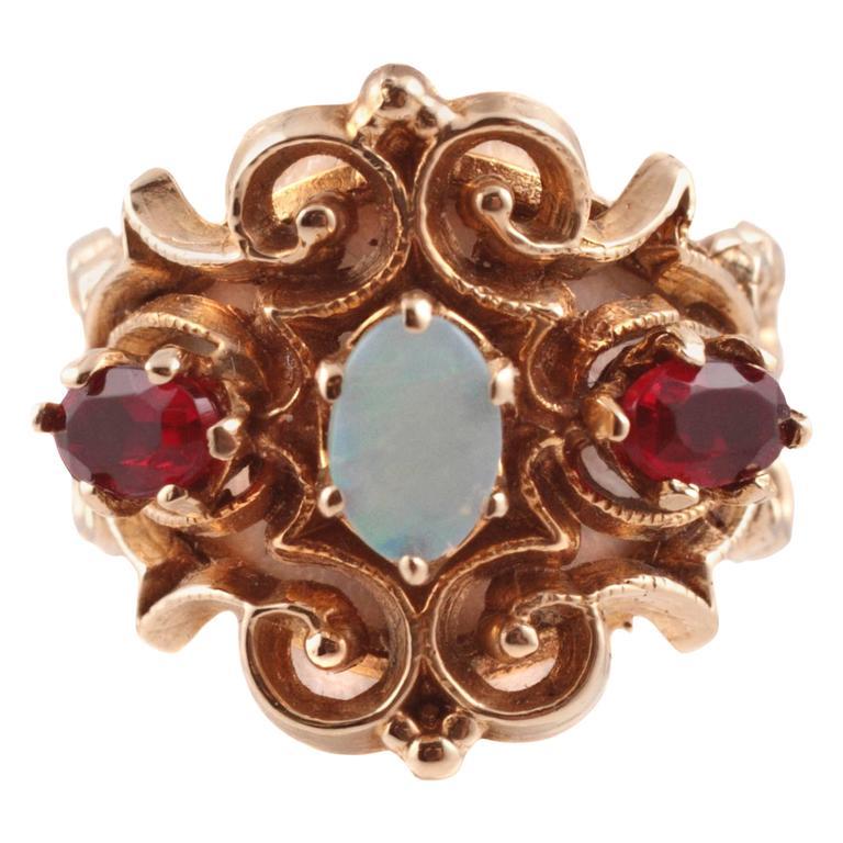 Opal Garnet Yellow Gold Ring