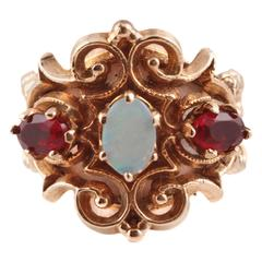 Opal Garnet Yellow Gold Ring