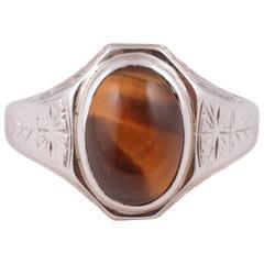 Tiger's Eye White Gold Ring
