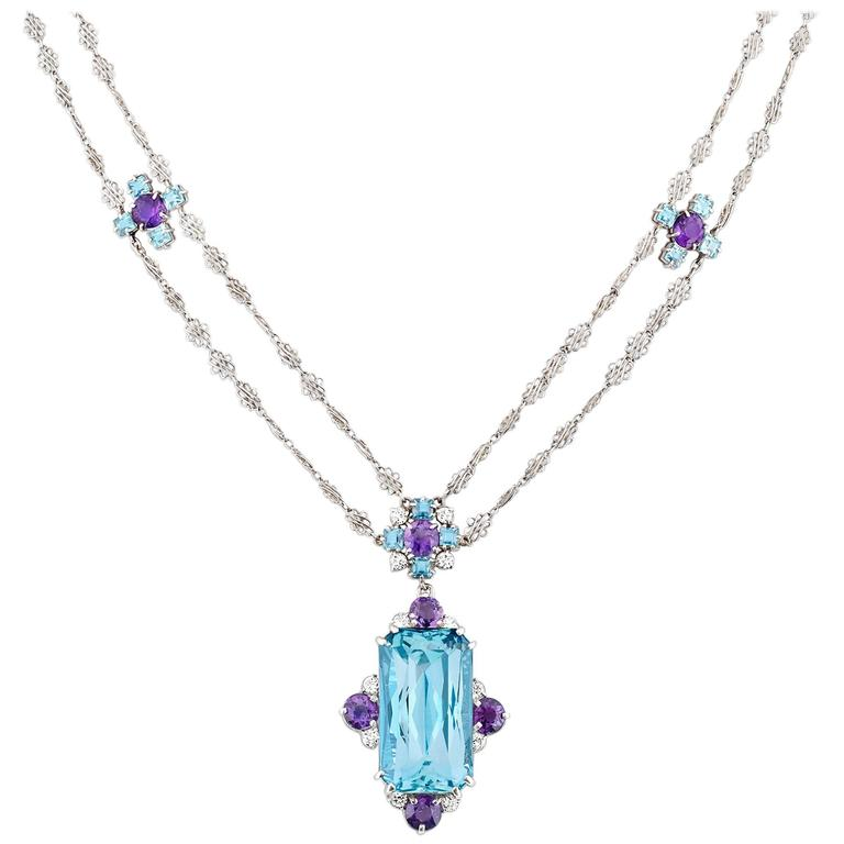 Tiffany & Co. 12.00 Carat Aquamarine Amethysts Platinum Necklace For Sale