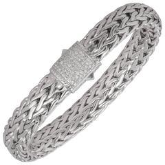 John Hardy Classic Large Size Chain Diamond Pave Silver Bracelet