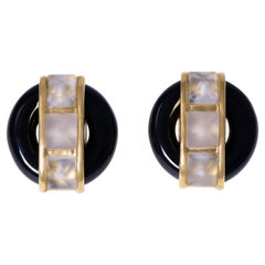 Large Aldo Cipullo Cartier Onyx Faceted Rock Crystal Gold Earclips