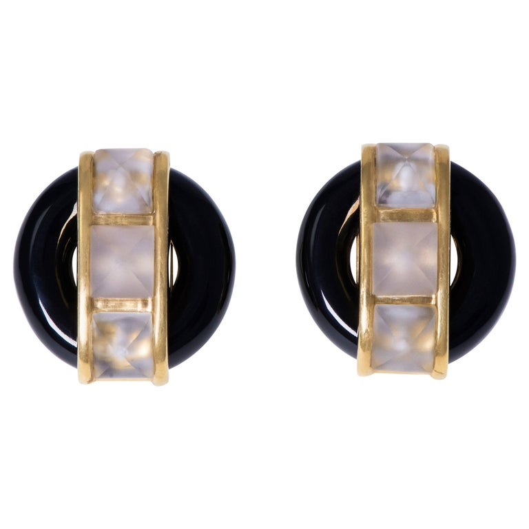 Large Aldo Cipullo Cartier Onyx Faceted Rock Crystal Gold Earclips For Sale