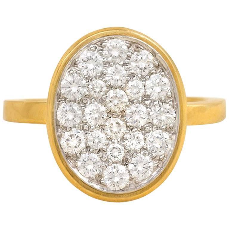 Dinh Van for Cartier Pavé Diamond Gold Ring