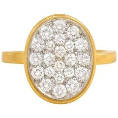 Dinh Van for Cartier Pavé Diamond Gold Ring