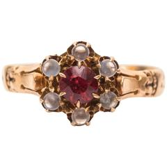 1890s Moonstone Garnet Yellow Gold Cluster Ring