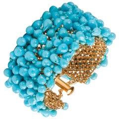 "Susan Hoge Turquoise Bead Gold Vermeil ""Fluffy"" Bracelet"