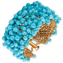 Susan Hoge Turquoise Bead Gold Vermeil Bracelet