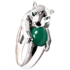 Cartier Panthere Green Chalcedony Emerald Onyx White Gold Ring