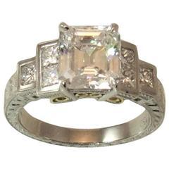 2.25 Carat GIA Certified Emerald Cut Diamond in Varna Platinum Setting