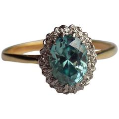 Art Deco Blue Zircon Diamond Gold Platinum Cluster Ring