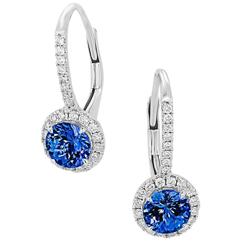 Tanzanite Round Diamond Halo Gold Dangle Earring