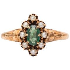 1890s Sapphire Rose Cut Diamond Ring