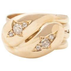 Victorian Diamond Entwined Snakes Ring