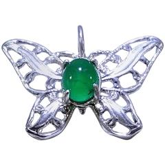 Emerald Cabochon Butterfly Pendant