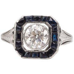 1920s Art Deco .95 Carat Old European Diamond Engagement Ring