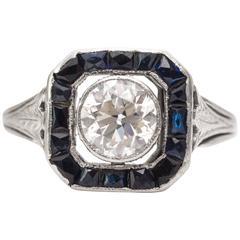 1920s Sapphire Old European Diamond Engagement Ring