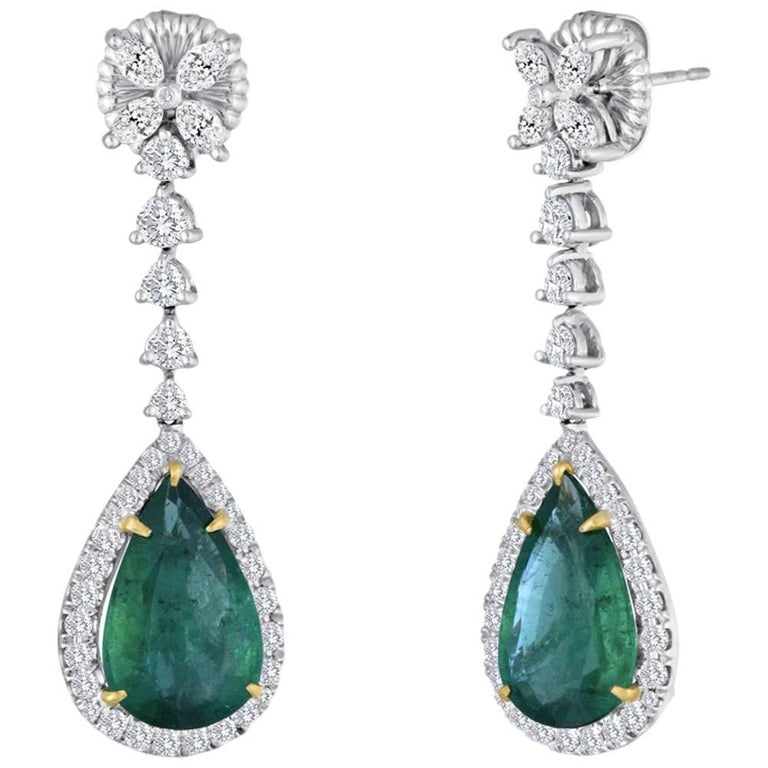 Emerald Pear Shape Diamond Halo Two Color Gold Dangle Drop Earring For Sale