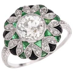 European Diamond Emeralds Engagement Ring