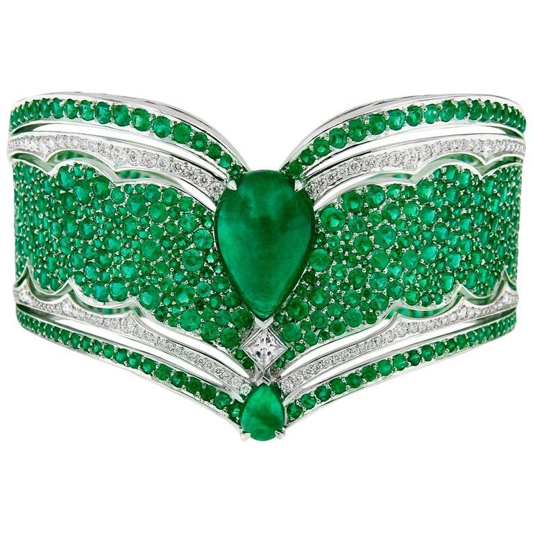 Vanleles Diamond Gemfield Emerald Legends of Africa High End Cuff Bracelet 1