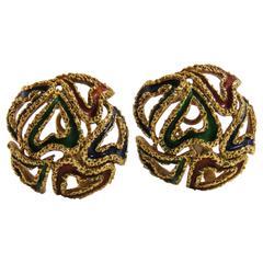Classic Hermes Enamel Gold Earrings