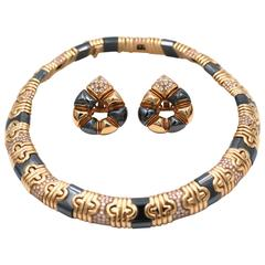 Bulgari Parentesi Hematite Diamond Yellow Gold Necklace and Earrings Set