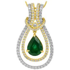 Interchangeable Emerald Diamond Two Color Gold Pendant