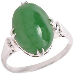 Green Jade Cabochon Platinum Ring
