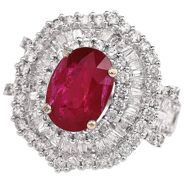 1980s Ruby Diamond Triple Halo Cluster Cocktail Ring