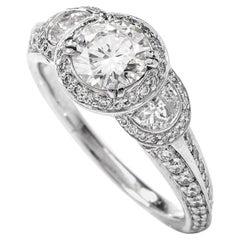 Ritani Three-Stone Half Moon Diamond Platinum Engagement Ring