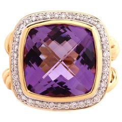 David Yurman Albion Amethyst Diamond Gold  Ring