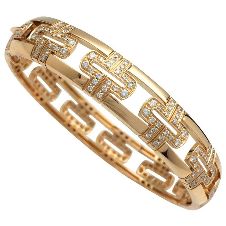 Bulgari Diamond Yellow Gold Cuff Bracelet