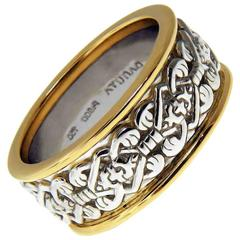 Celtic Love Knot Filigree Two-Tone Yellow Gold Platinum Eternity Band Ring