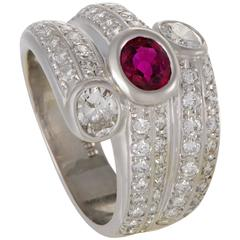 Platinum Diamond Pave and Ruby Band Ring