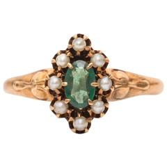 1910s Emerald Seed Pearl Gold Halo Ring