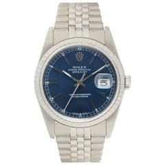 Rolex Stainless Steel Oyster Perpetual Datejust Blue Dial Automatic Wristwatch