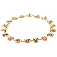 Yellow Gold Diamond Ruby and Coral Collar Necklace