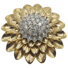 Tiffany & Co. Diamond Gold Brooch, circa 1950