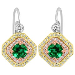 Emerald Round Diamond Double Halo Three Color Gold Fashion Dangle Drop Earring
