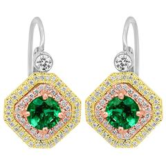 Emerald Diamond Double Halo Three Color Gold Earring