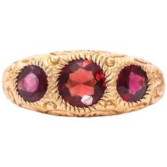 1880s Red Three-Stone Yellow Gold Ring