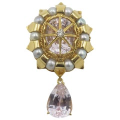 Tony Duquette Kunzite Pearl Diamond Gold Brooch