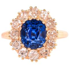 1890s Antique Certified Ceylon Sapphire Diamond Ring