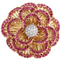 1960s Italian Ruby Diamond Gold Floral Brooch Pin