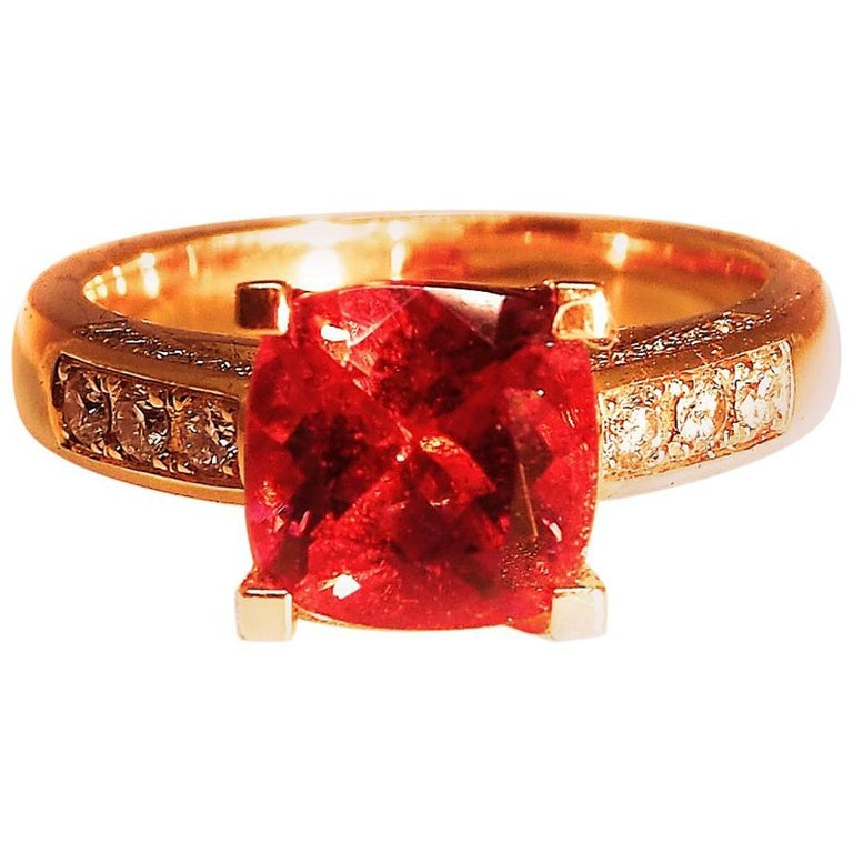 Fine Rubelite Diamond 18k Rose Gold Solitaire Cocktail Ring