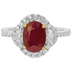 Ruby Diamond Halo Two Color Gold Bridal Fashion Ring