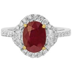 Ruby Diamond Halo Two Color Gold Ring