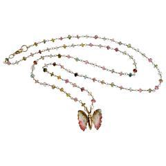 Gold Pink Green Watermelon Tourmaline Butterfly Necklace